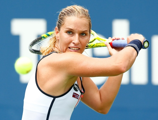 NEW HAVEN, CT: Dominika Cibulkova plays Tsvetana Pironkova on stadium court during the 2015 Connecticut Open at the Yale University Tennis Center on Sunday, August 23, 2015 in New Haven, Connecticut. (Photo by Jared Wickerham/Connecticut Open)