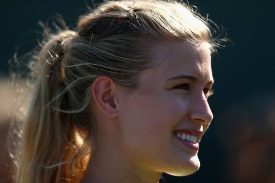 KEY BISCAYNE, FL - APRIL 03:  Genie Bouchard of Canada during the Miami Open Presented by Itau at Crandon Park Tennis Center on April 3, 2015 in Key Biscayne, Florida.  (Photo by Clive Brunskill/Getty Images)