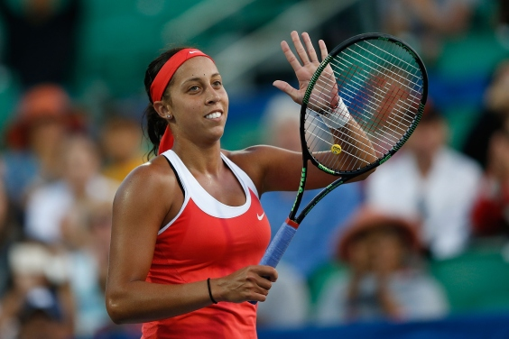 STANFORD, CA - AUGUST 3: Madison Keys of the United States celebrates her win against Aleksandra Krunic of Serbia during day one of the Bank of the West Classic at the Stanford University Taube Family Tennis Stadium on August 3, 2015 in Stanford, California. (Photo by Lachlan Cunningham/Getty Images)