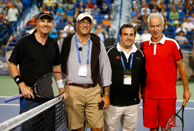 NEW HAVEN, CT: John McEnroe plays Jim Courier as part of the PowerShares series on stadium court during the 2015 Connecticut Open at the Yale University Tennis Center on Friday, August 28, 2015 in New Haven, Connecticut. (Photo by Jared Wickerham/Connecticut Open)