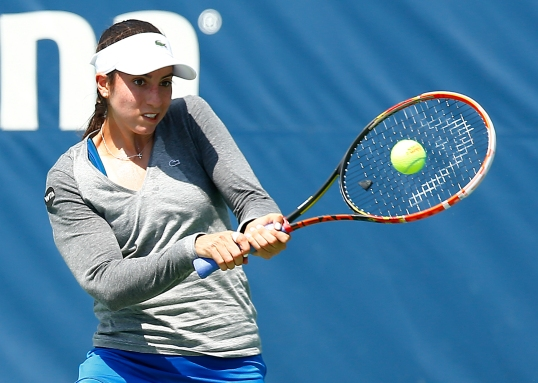 NEW HAVEN, CT: Margarita Gasparyan plays Christina McHale during the 2015 Connecticut Open at the Yale University Tennis Center on Saturday, August 22, 2015 in New Haven, Connecticut. (Photo by Jared Wickerham/Connecticut Open)