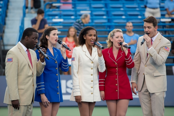 August 16, 2014, New Haven, CT: The USO Show Troupe performs during Military Night on day four of the 2014 Connecticut Open at the Yale University Tennis Center in New Haven, Connecticut Monday, August 18, 2014. (Photo by Billie Weiss/Connecticut Open)
