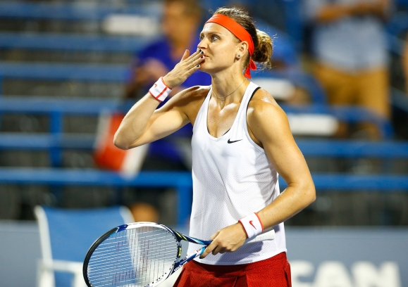 NEW HAVEN, CT: Lucie Safarova plays Irina-Camelia Begu on stadium court during the 2015 Connecticut Open at the Yale University Tennis Center on Tuesday, August 25, 2015 in New Haven, Connecticut. (Photo by Jared Wickerham/Connecticut Open)
